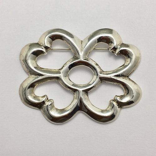 Navajo Sterling Silver Bow Tie Sandcast Pin Brooch