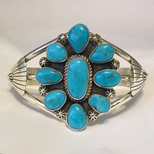 Navajo Sterling Silver Kingman Turquoise Cuff Bracelet