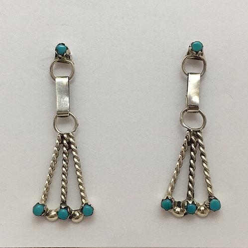Zuni Dangle Turquoise Earrings
