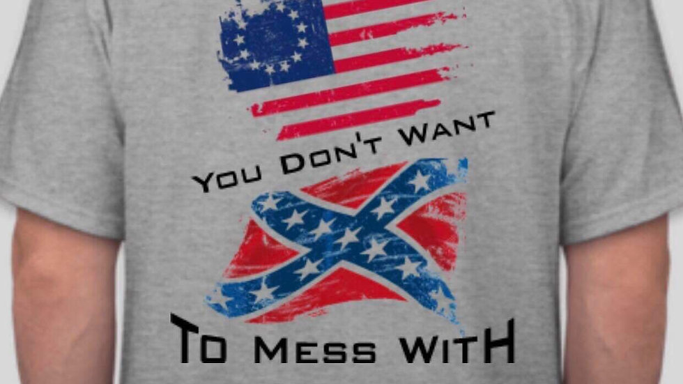 Closeout Betsy Ross Flag/Battle Flag T-Shirt, Free shipping