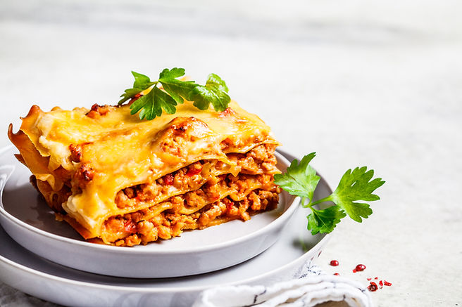 Close-up of classic meat lasagna with ch