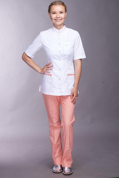 Медицинский костюм Алина в персиковом цвете