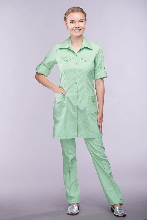 Медицинский костюм Елена в салатовом цвете