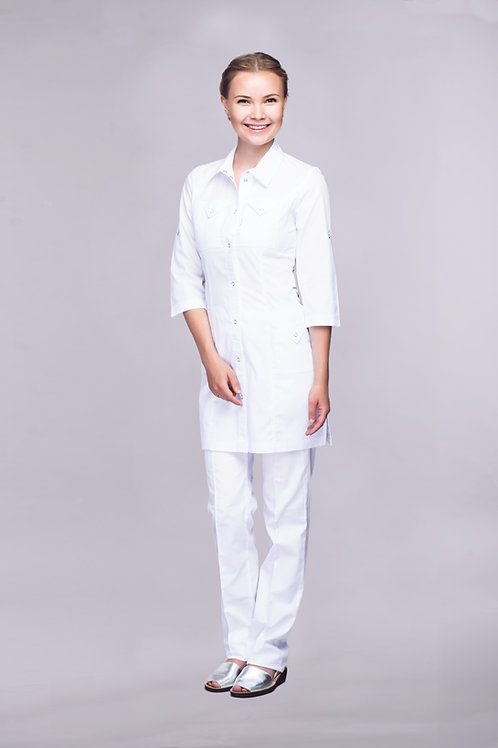 Медицинский костюм Елена в белом цвете