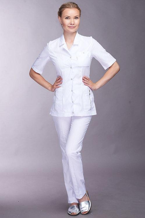 Медицинский костюм Дарья в белом цвете