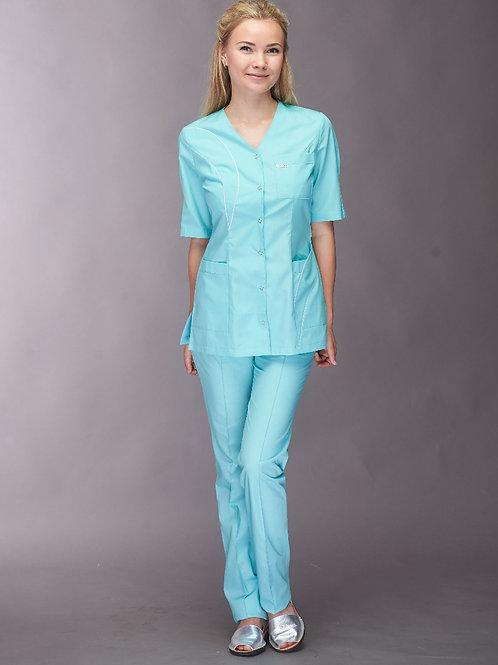 Медицинский костюм Лаванда в бирюзовом цвете