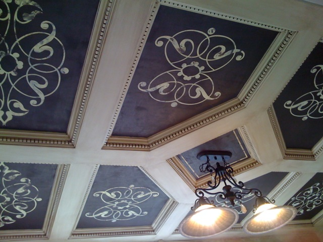 Coffered Ceiling with Stencil