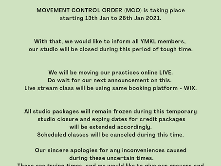Temporary Closure of Yoga Moment KL Studio.