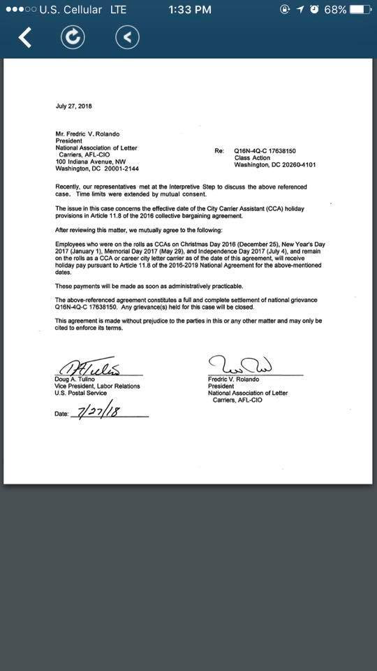 Nalc And Usps Reach Agreement On Cca Holiday Backpay Nalc Mn