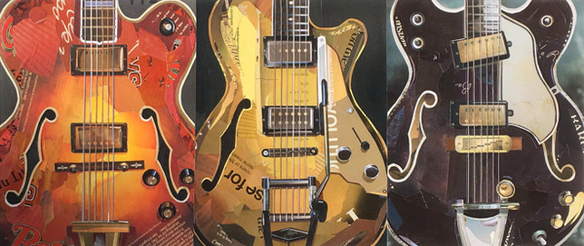 """Three Hollow Body Electric Guitars""  2017"
