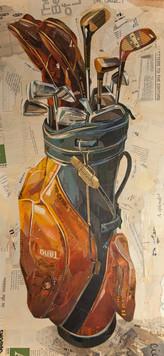 """Golf Clubs in Stiff Orange/Blue Leather""  2015"