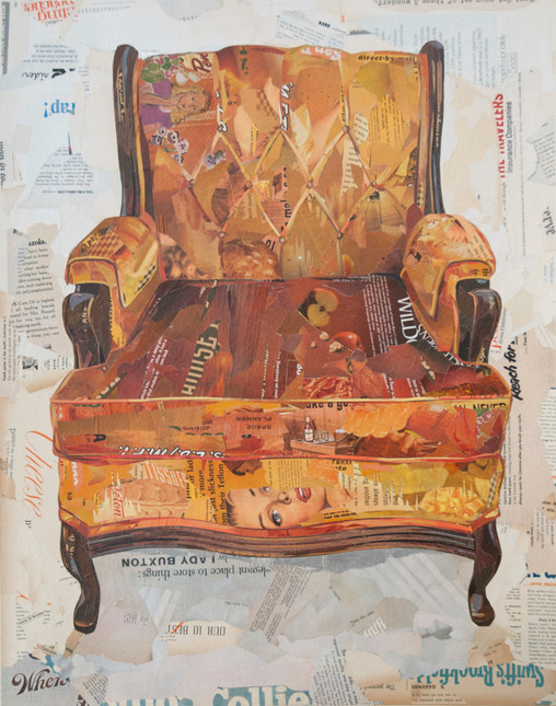 """Armchair in Crushed Orange Velvet""  2015"