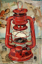 """Kerosene Lamp In Rust Red"""