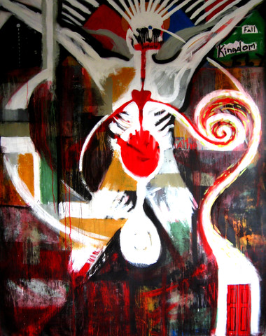 'Behind the Red Door' by Dwayne Cameron. 2011. Mix media on canvas.