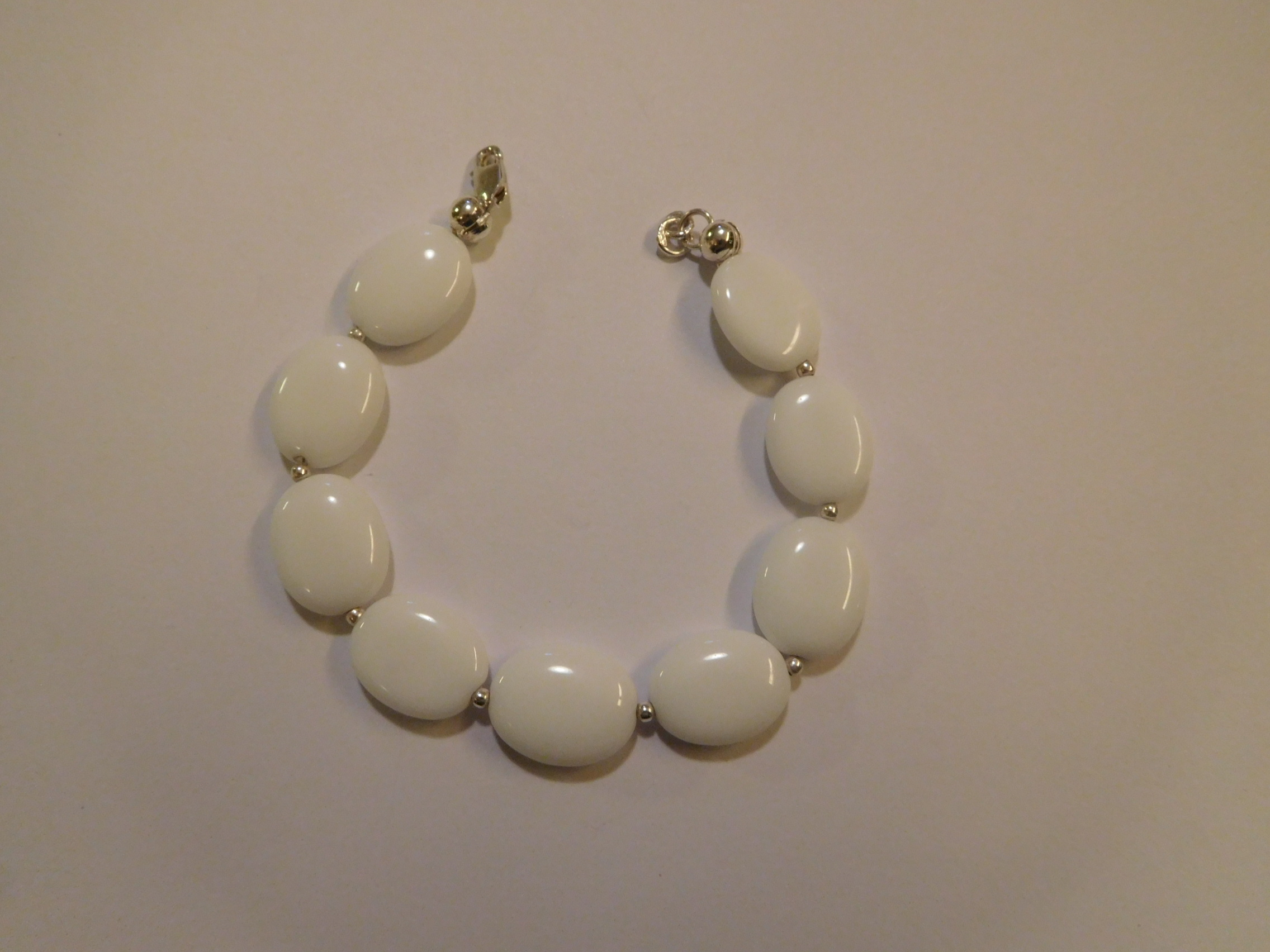 Armband, zilver, witte agaat