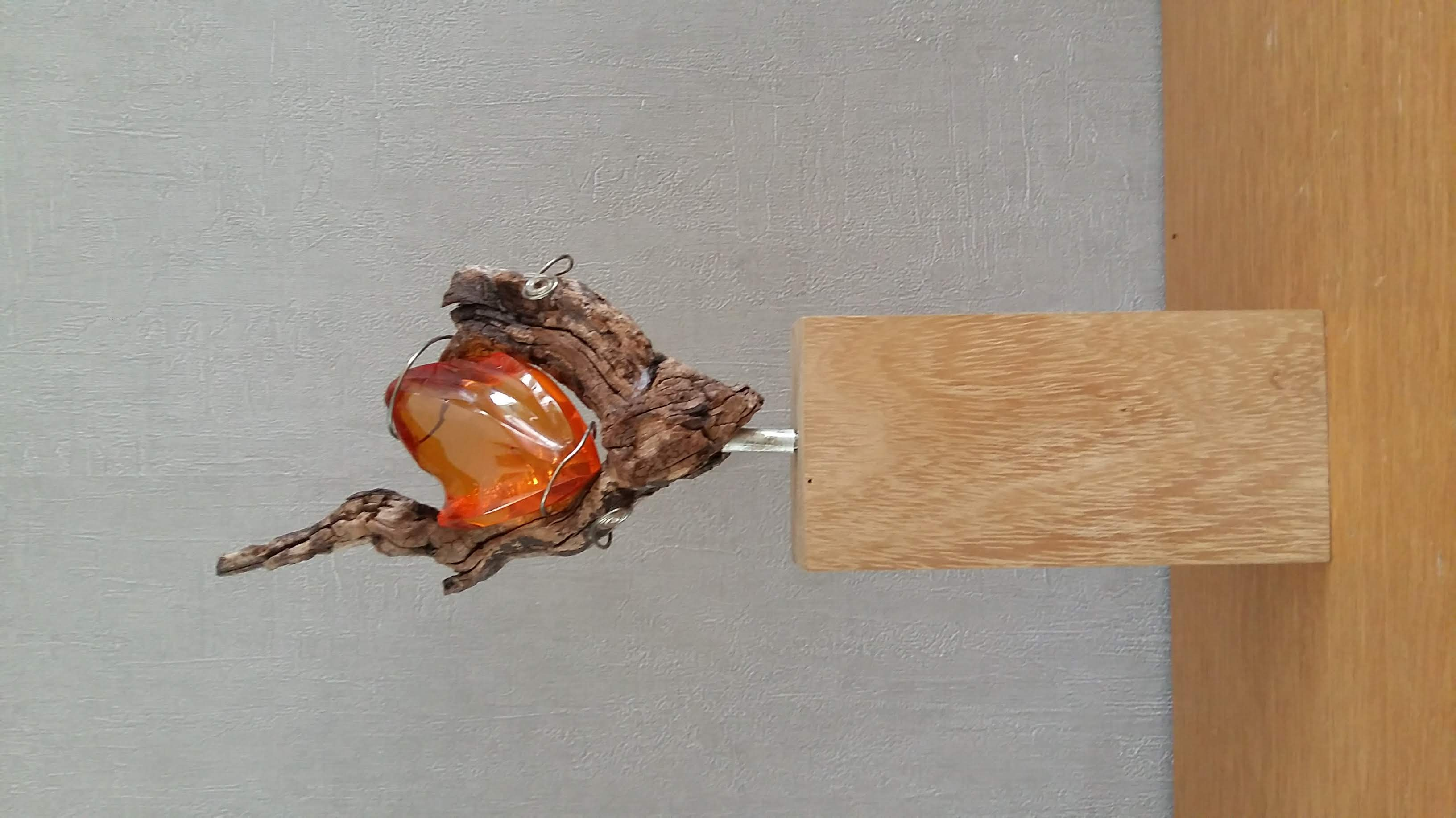 Statue-Object, Amber, zilver hout