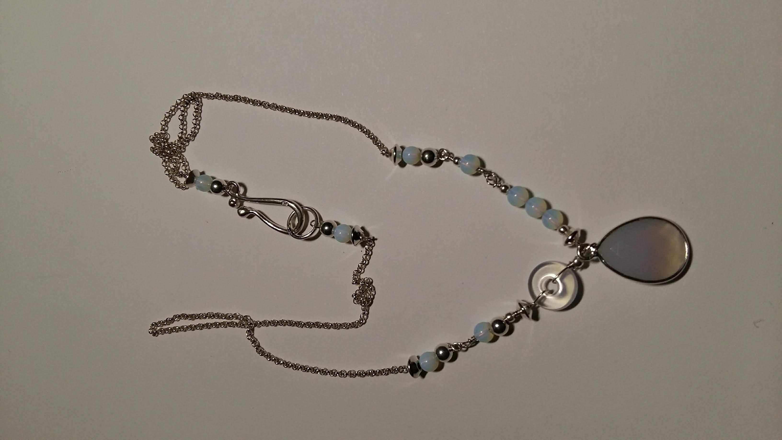 Halsjuweel, zilver, opaal(synth.))