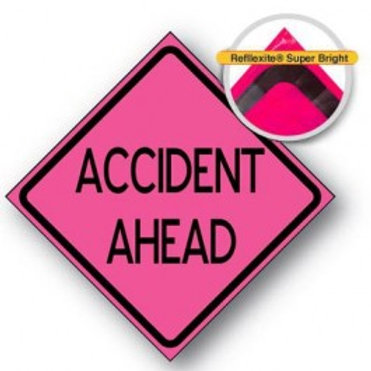 """MDI Compact® Sign 36"""" 48"""" ACCIDENT AHEAD"""