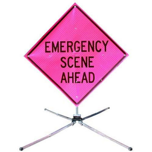 """MDI Compact® Sign 36"""" 48"""" EMERGENCY SCENE AHEAD(STAND SOLD SEPERATLY)"""