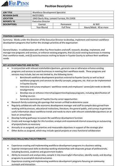 Workforce Development Specialist JD Form