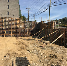 Concrete Retaining Wall on Building