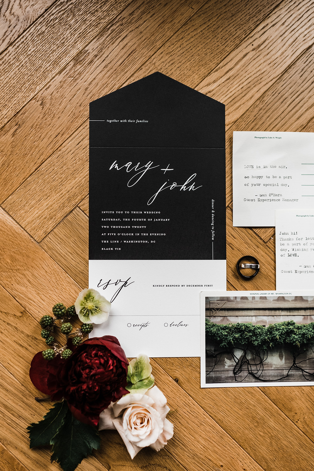 Black and burgundy wedding invitation and stationery