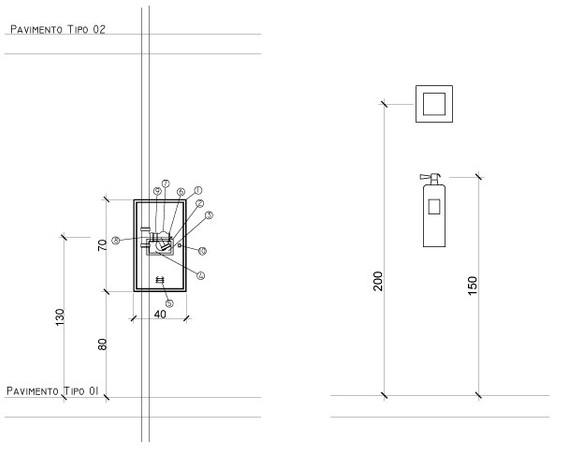 Detalhe Caixa de Incêndio e Extintor