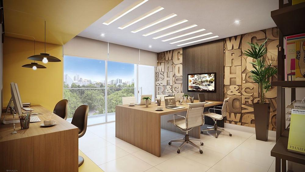 ergonomia iluminação escritório organização interiores design