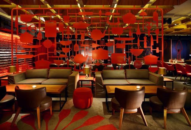 Decoração Interiores com vermelho predominante