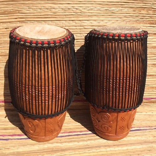 """Pair of African Conga drums, with 11"""" head."""