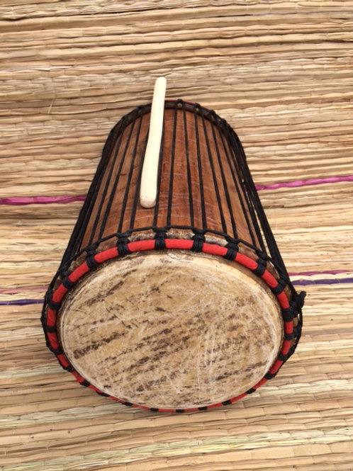 """African Dundun Drum - Kenkeni 10"""" - Carved"""