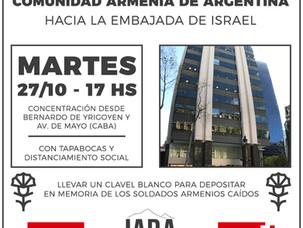 Marcha de la comunidad armenia de Argentina a la Embajada de Israel