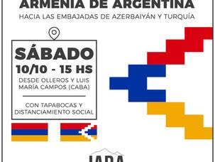Marcha de la comunidad armenia de argentina hacia las Embajadas de Azerbaiyán y Turquía