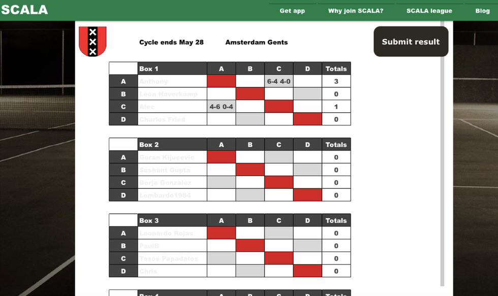 First Scala matches played in Amsterdam League, with the app yet to launch!