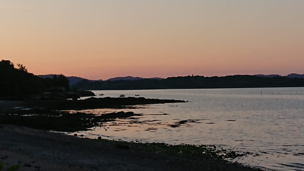 Shore Road coast towards Screel at sunset