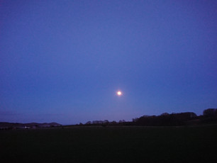 Spring full moon rising over Auchencairn