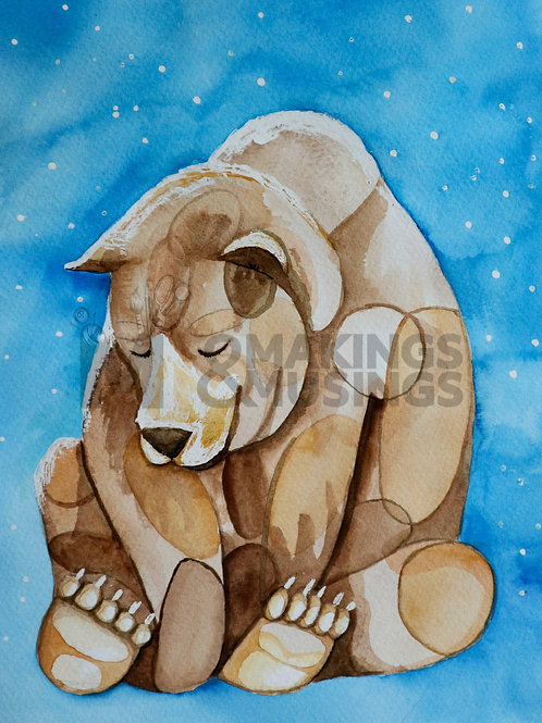 Mindful Bear - print on eco fine art paper