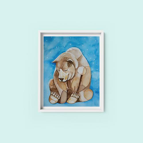 Mindful Bear - print on archival fine art paper