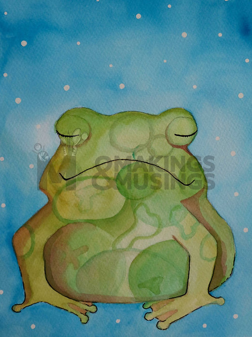 Mindful frog - print on eco fine art paper