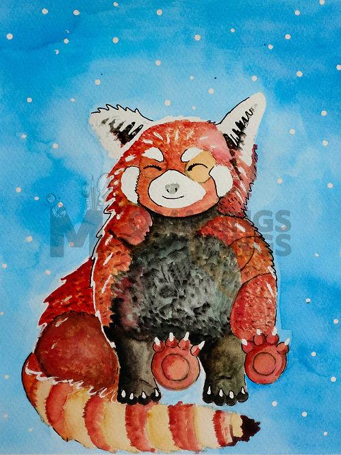 Mindful Red Panda - print on eco fine art paper