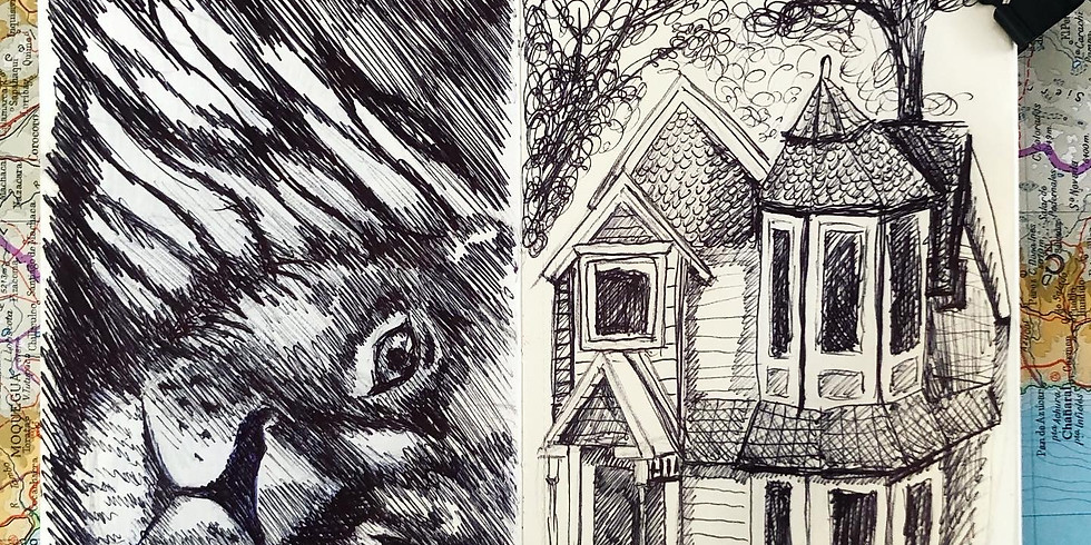 ONLINE - Drawing with Minimal Materials - Biro Pen Drawings - drawing a building