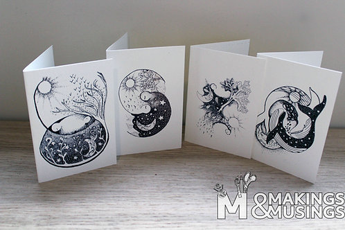Dreamy Greeting cards - set of 4 including envelopes