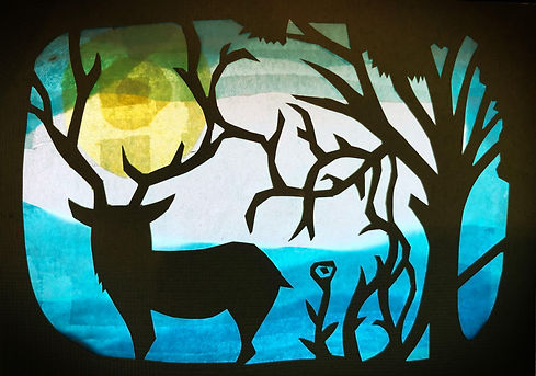 paper cutting window transparent of a deer