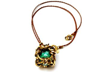 Mythic cage pendant, vermeil , leather s