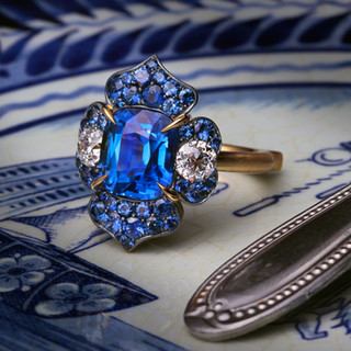 Natural Sapphire and Antique Diamond Ring.