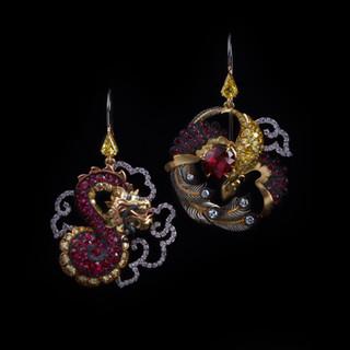Phoenix and Dragon Earrings.