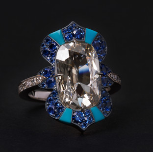 Antique Type IIa Diamond and Sapphire Ring