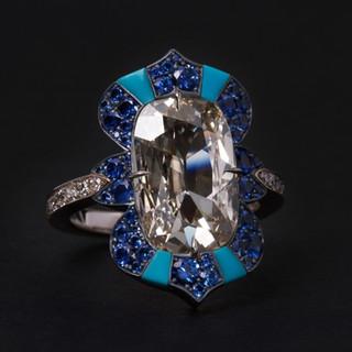 Antique Type IIa Diamond and Sapphire Ring