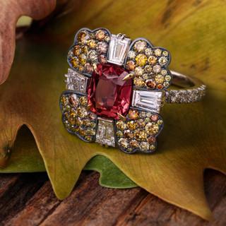Natural Sapphire and Diamond Oak Ring.