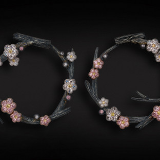 Pink Diamond Blossom Earrings